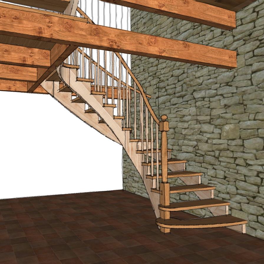 Escalier A L Anglaise En Chataignier Et Chene L Atelier Du